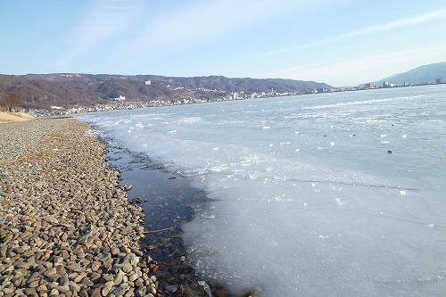 諏訪湖結氷